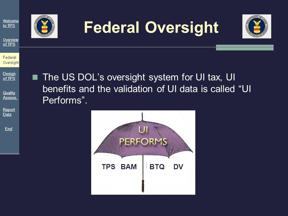 """Federal Oversight The US DOL's oversight system for UI tax, UI benefits and the validation of UI data is called """"UI Performs"""". TPSBAMBTQDV Welcome to"""