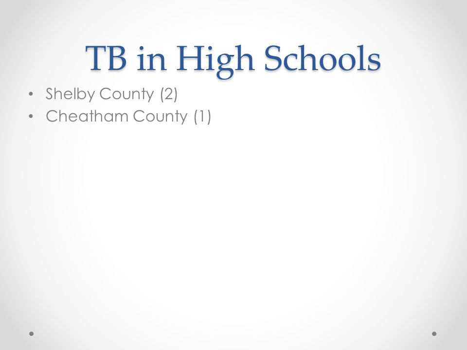 TB in High Schools Shelby County (2) Cheatham County (1)
