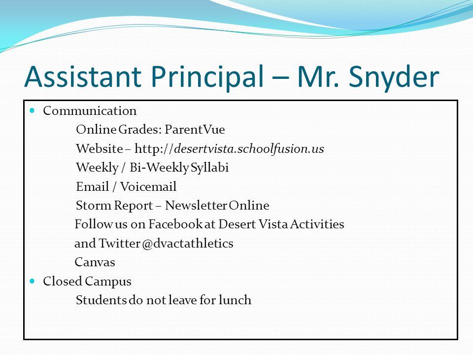 Assistant Principal – Mr.