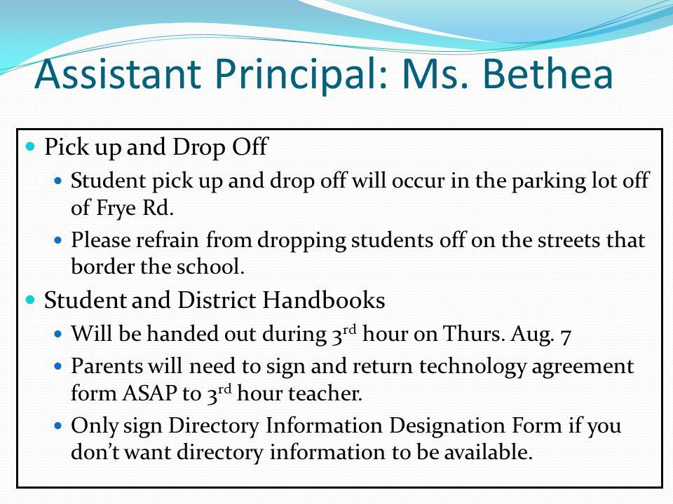 Assistant Principal: Ms.