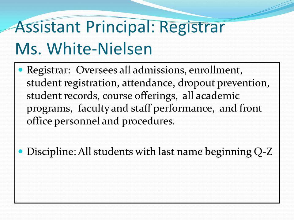 Assistant Principal: Registrar Ms.
