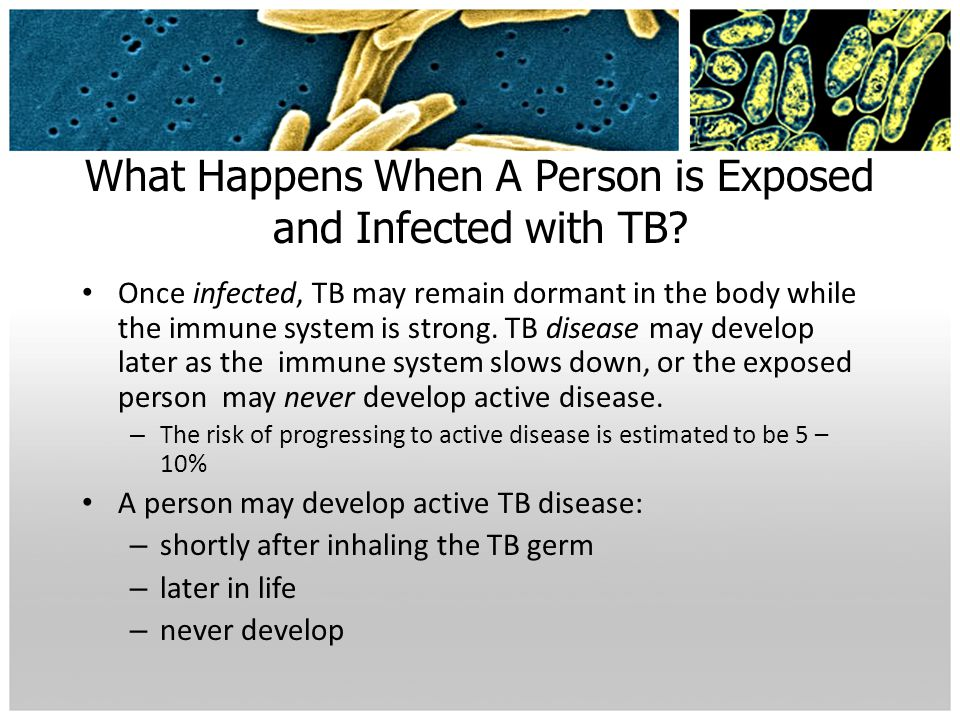 What Happens When A Person is Exposed and Infected with TB? Once infected, TB may remain dormant in the body while the immune system is strong. TB dis
