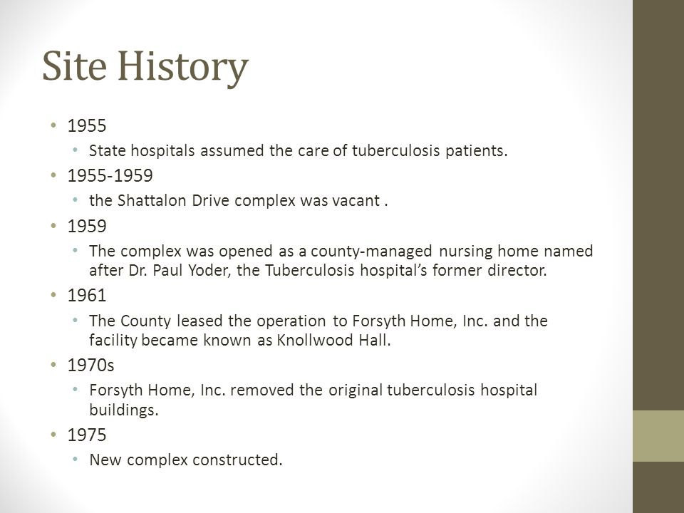 Site History 1955 State hospitals assumed the care of tuberculosis patients.