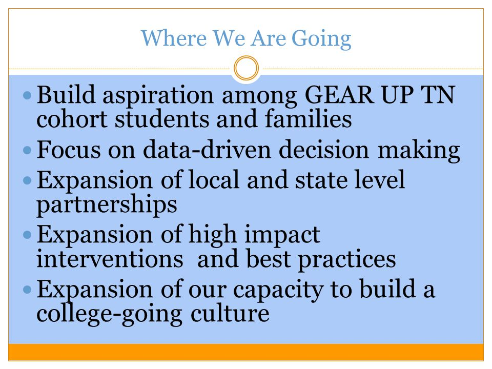 Where We Are Going Build aspiration among GEAR UP TN cohort students and families Focus on data-driven decision making Expansion of local and state level partnerships Expansion of high impact interventions and best practices Expansion of our capacity to build a college-going culture