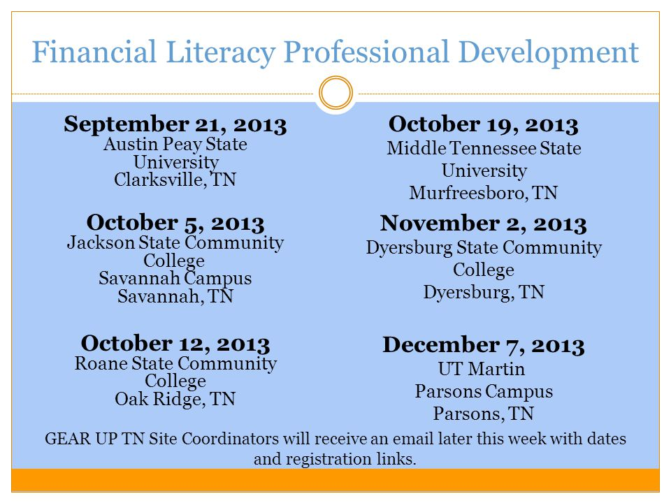 Financial Literacy Professional Development September 21, 2013 Austin Peay State University Clarksville, TN October 5, 2013 Jackson State Community College Savannah Campus Savannah, TN October 12, 2013 Roane State Community College Oak Ridge, TN October 19, 2013 Middle Tennessee State University Murfreesboro, TN November 2, 2013 Dyersburg State Community College Dyersburg, TN December 7, 2013 UT Martin Parsons Campus Parsons, TN GEAR UP TN Site Coordinators will receive an email later this week with dates and registration links.