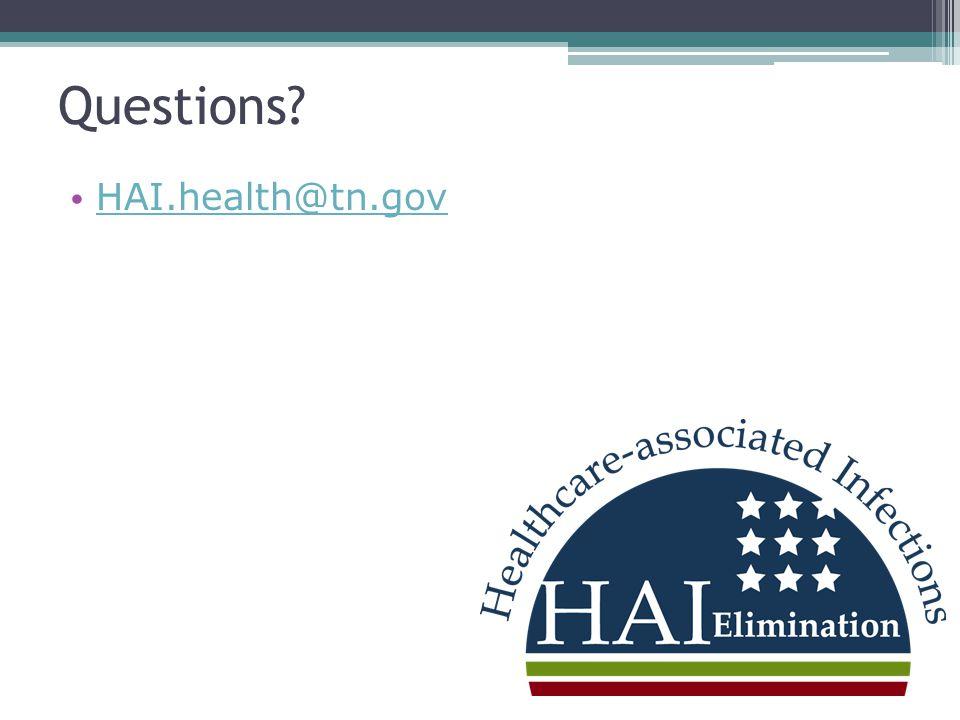 Questions? HAI.health@tn.gov