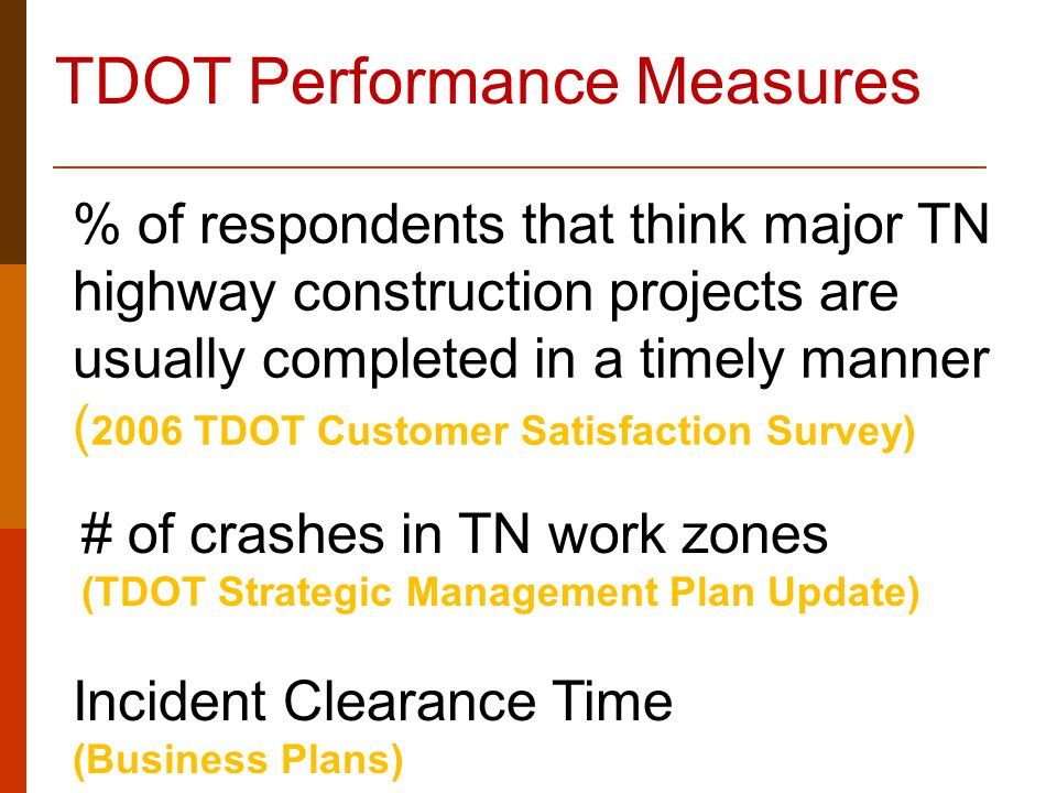 % of respondents that think major TN highway construction projects are usually completed in a timely manner ( 2006 TDOT Customer Satisfaction Survey)