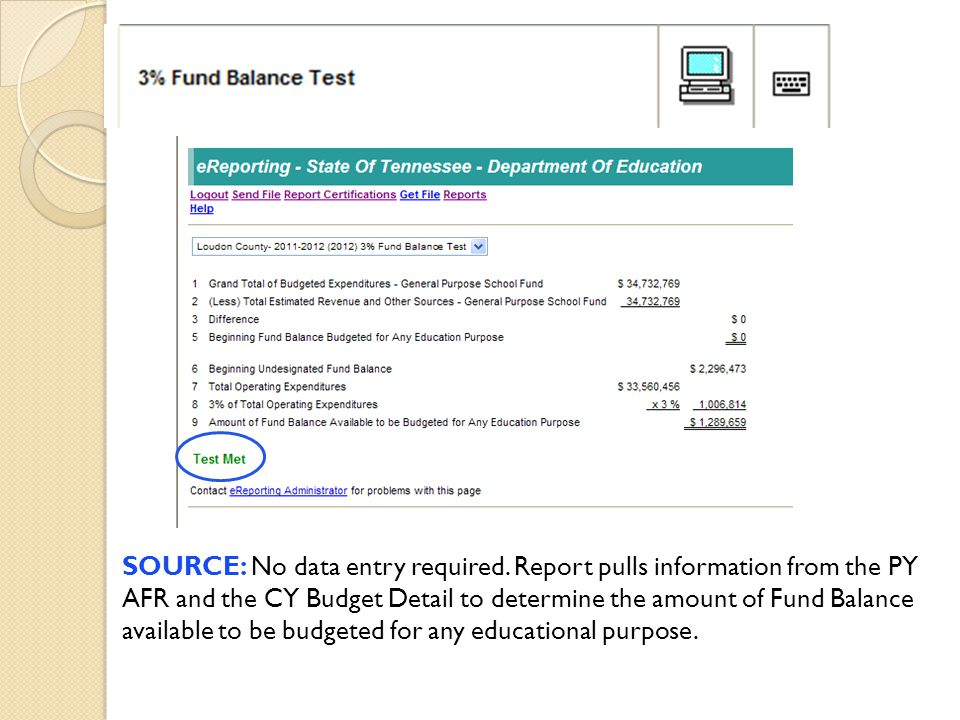 SOURCE: No data entry required. Report pulls information from the PY AFR and the CY Budget Detail to determine the amount of Fund Balance available to