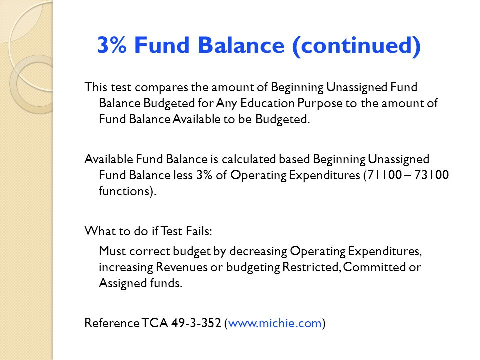 3% Fund Balance (continued) This test compares the amount of Beginning Unassigned Fund Balance Budgeted for Any Education Purpose to the amount of Fun