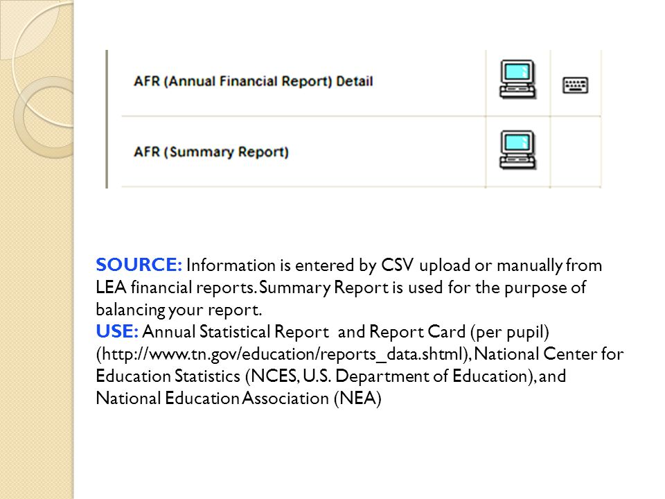 SOURCE: Information is entered by CSV upload or manually from LEA financial reports. Summary Report is used for the purpose of balancing your report.