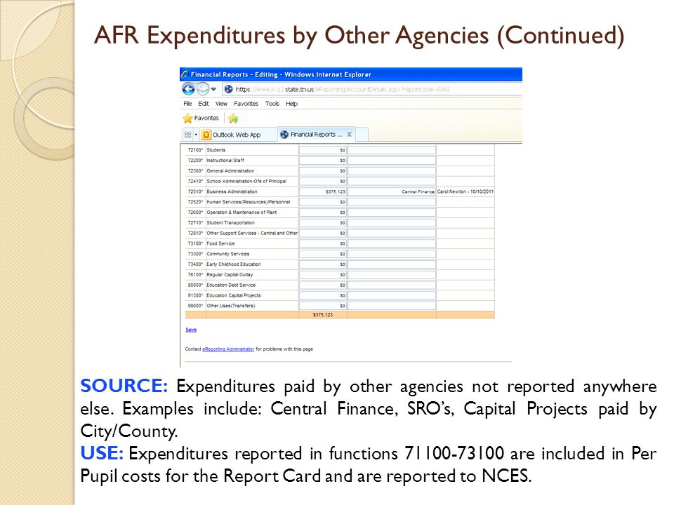 AFR Expenditures by Other Agencies (Continued) SOURCE: Expenditures paid by other agencies not reported anywhere else. Examples include: Central Finan
