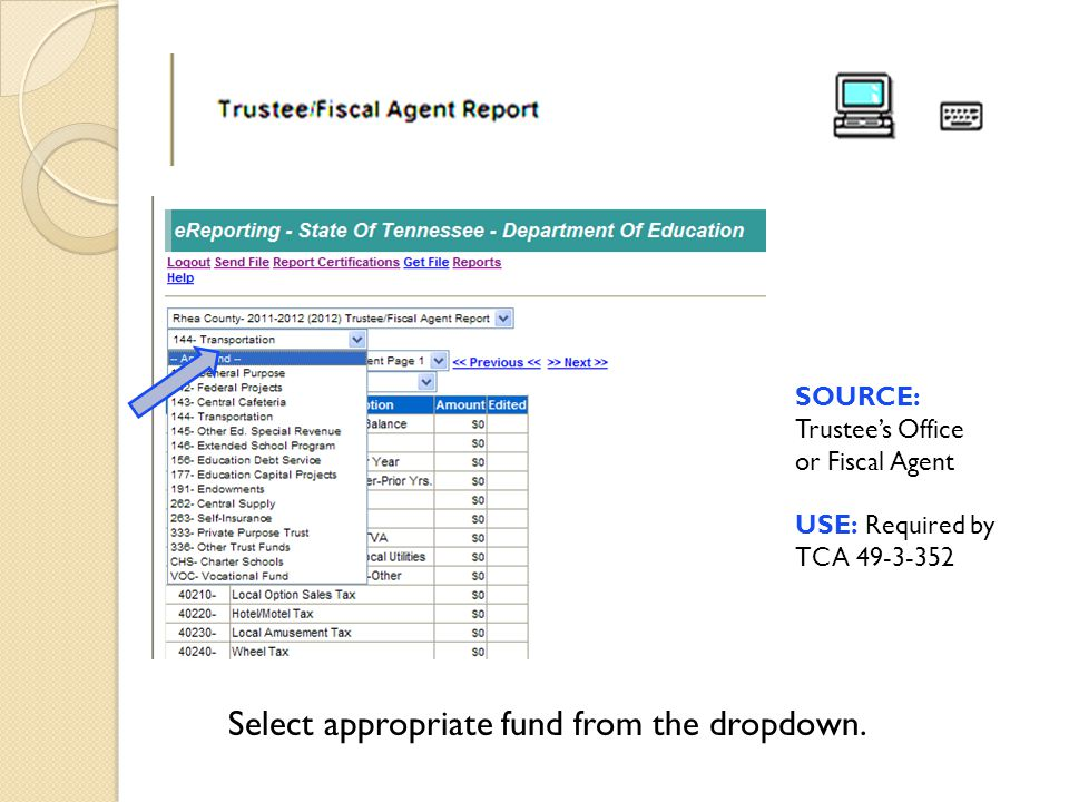 Select appropriate fund from the dropdown. SOURCE: Trustee's Office or Fiscal Agent USE: Required by TCA 49-3-352