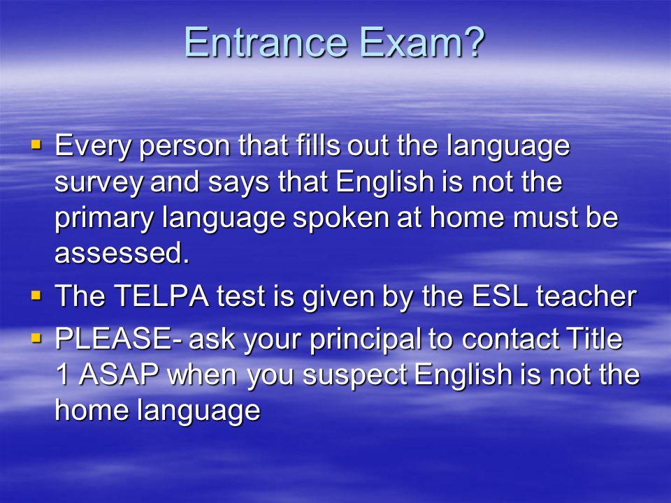 Entrance Exam.