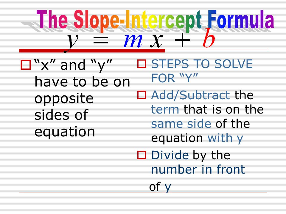 " ""x"" and ""y"" have to be on opposite sides of equation  STEPS TO SOLVE FOR ""Y""  Add/Subtract the term that is on the same side of the equation with"