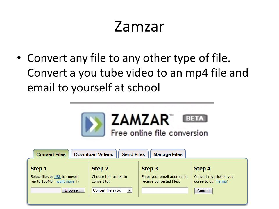 Zamzar Convert any file to any other type of file.
