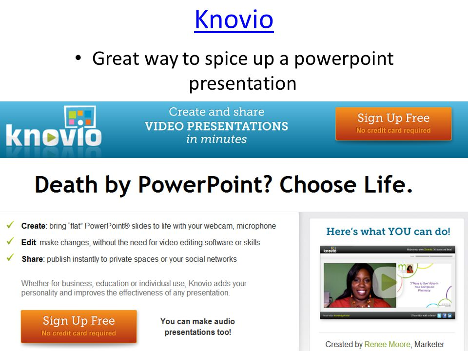 Knovio Great way to spice up a powerpoint presentation