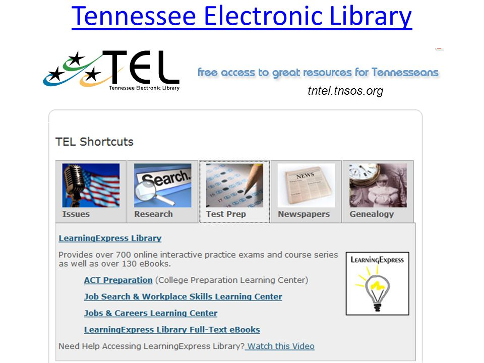 Tennessee Electronic Library tntel.tnsos.org