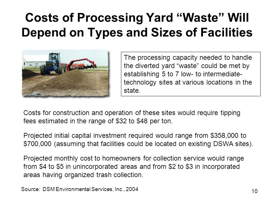 "10 Costs of Processing Yard ""Waste"" Will Depend on Types and Sizes of Facilities The processing capacity needed to handle the diverted yard ""waste"" co"