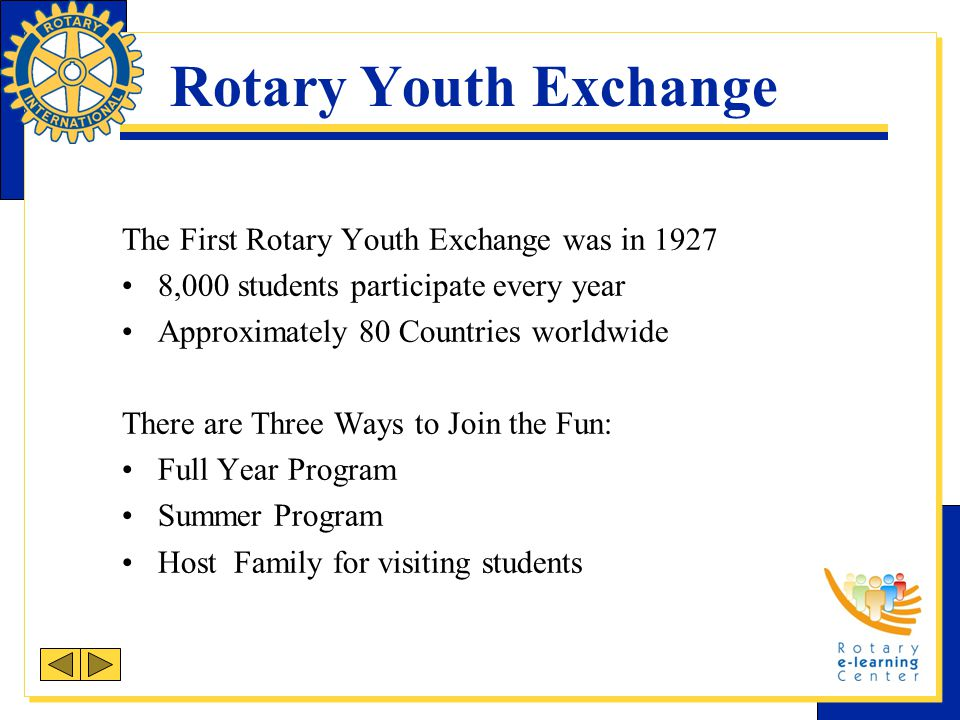 Rotary Youth Exchange The First Rotary Youth Exchange was in 1927 8,000 students participate every year Approximately 80 Countries worldwide There are