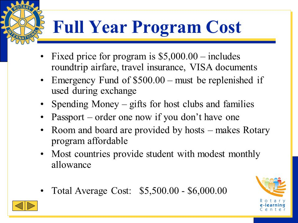 Full Year Program Cost Fixed price for program is $5,000.00 – includes roundtrip airfare, travel insurance, VISA documents Emergency Fund of $500.00 –