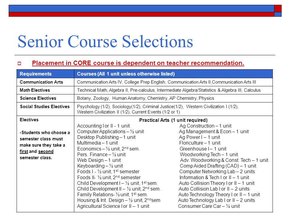 Senior Course Selections  Placement in CORE course is dependent on teacher recommendation.