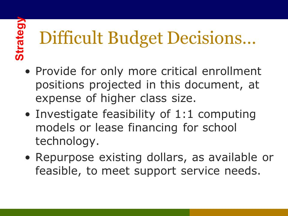 Difficult Budget Decisions… Provide for only more critical enrollment positions projected in this document, at expense of higher class size.