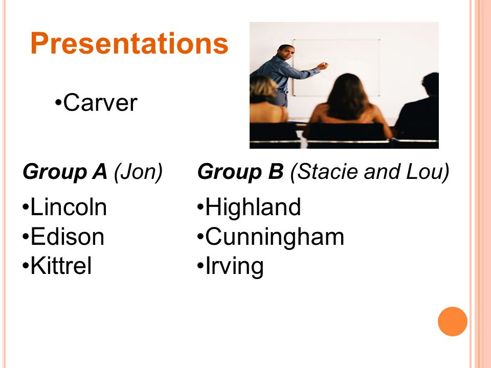 Presentations Carver Group A (Jon) Lincoln Edison Kittrel Group B (Stacie and Lou) Highland Cunningham Irving
