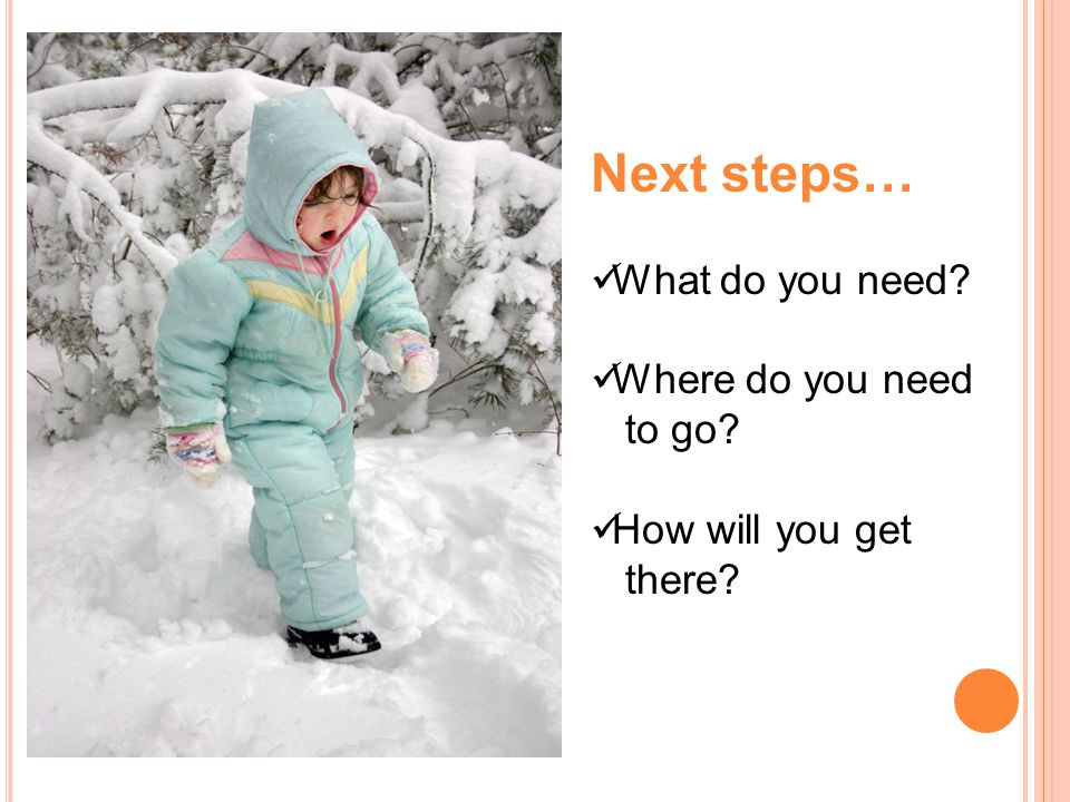 Next steps… What do you need? Where do you need to go? How will you get there?
