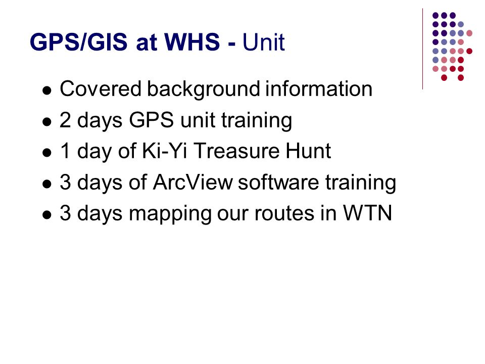 GPS/GIS at WHS - Unit Covered background information 2 days GPS unit training 1 day of Ki-Yi Treasure Hunt 3 days of ArcView software training 3 days