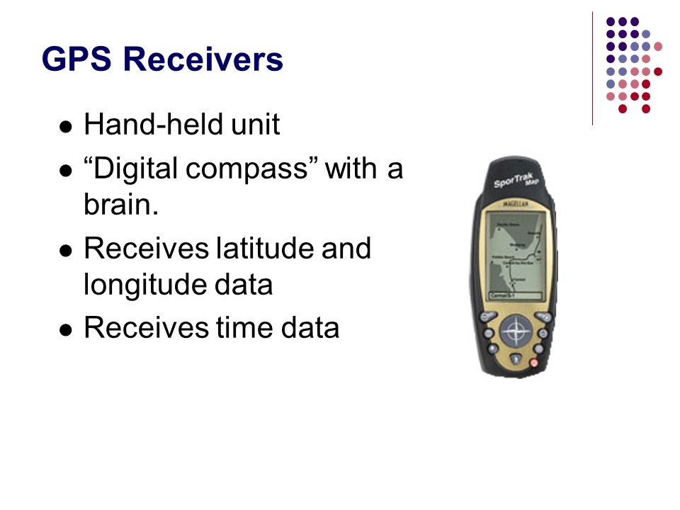 "GPS Receivers Hand-held unit ""Digital compass"" with a brain. Receives latitude and longitude data Receives time data"