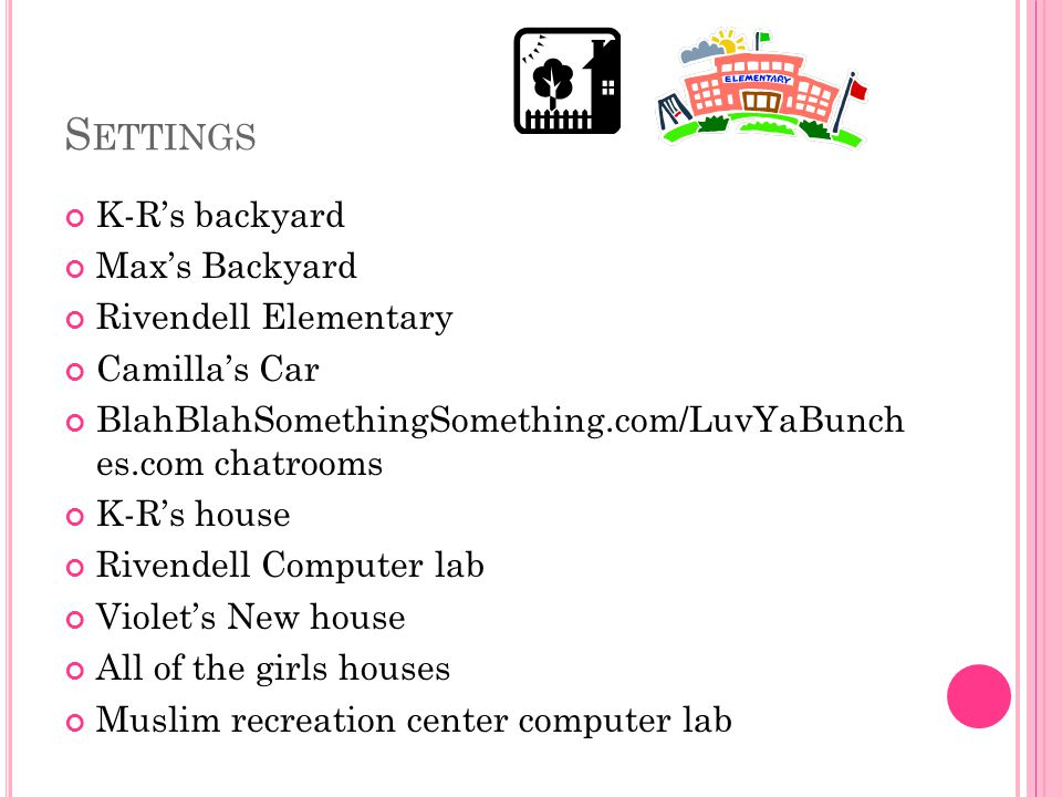 S ETTINGS K-R's backyard Max's Backyard Rivendell Elementary Camilla's Car BlahBlahSomethingSomething.com/LuvYaBunch es.com chatrooms K-R's house Rivendell Computer lab Violet's New house All of the girls houses Muslim recreation center computer lab