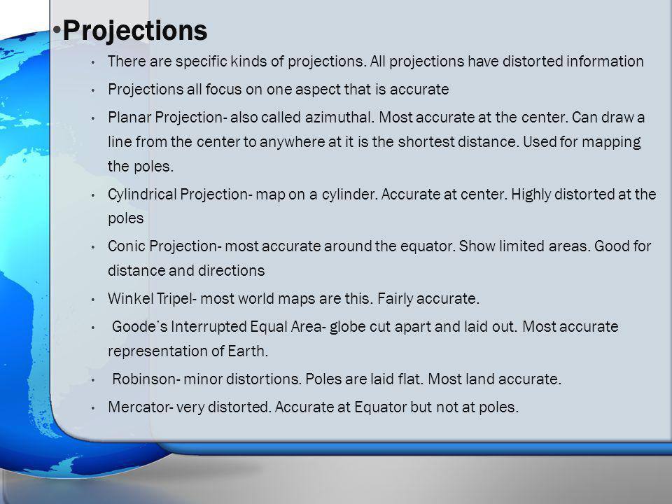 Map Projections: Planar, Conic, and Cylindrical Goode's Interrupted Equal Area Projection Longitude Latitude Robinson Projection Winkel Tripel Projection Mercator Projection World Map