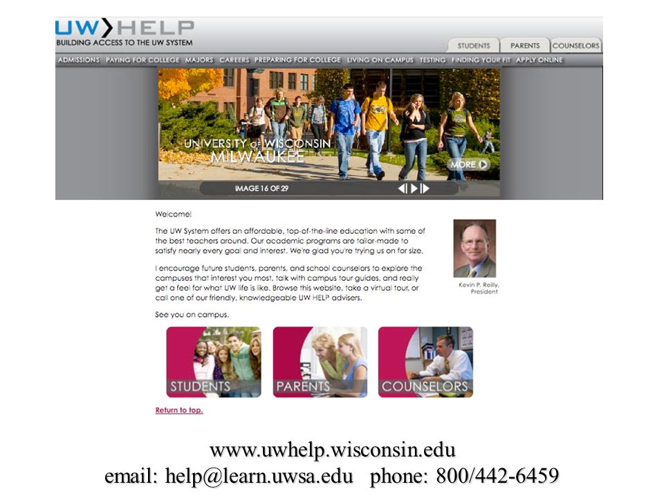 www.uwhelp.wisconsin.edu email: help@learn.uwsa.edu phone: 800/442-6459