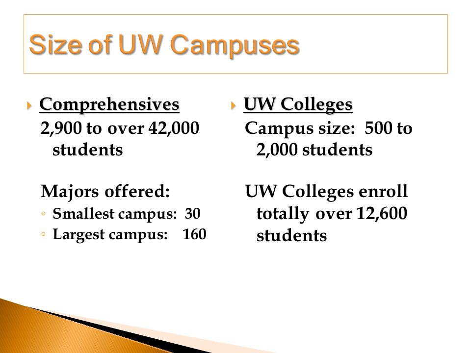  Comprehensives 2,900 to over 42,000 students Majors offered: ◦ Smallest campus: 30 ◦ Largest campus: 160  UW Colleges Campus size: 500 to 2,000 students UW Colleges enroll totally over 12,600 students