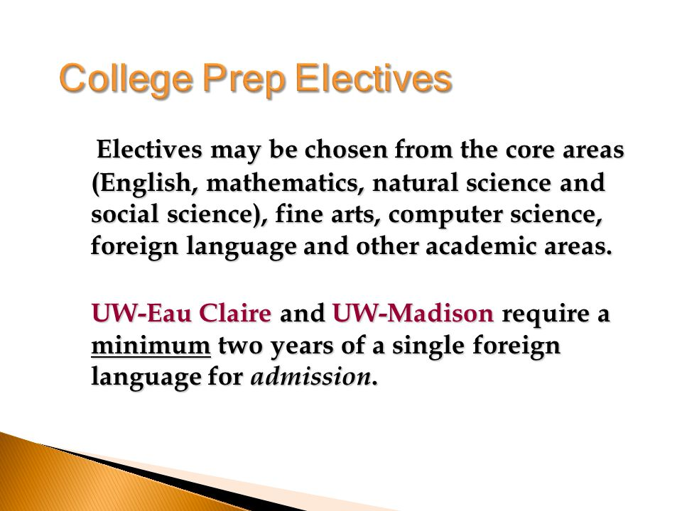 Electives may be chosen from the core areas (English, mathematics, natural science and social science), fine arts, computer science, foreign language and other academic areas.