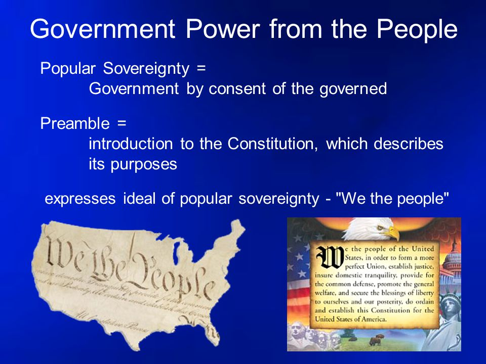 Government Power from the People Popular Sovereignty = Government by consent of the governed Preamble = introduction to the Constitution, which descri