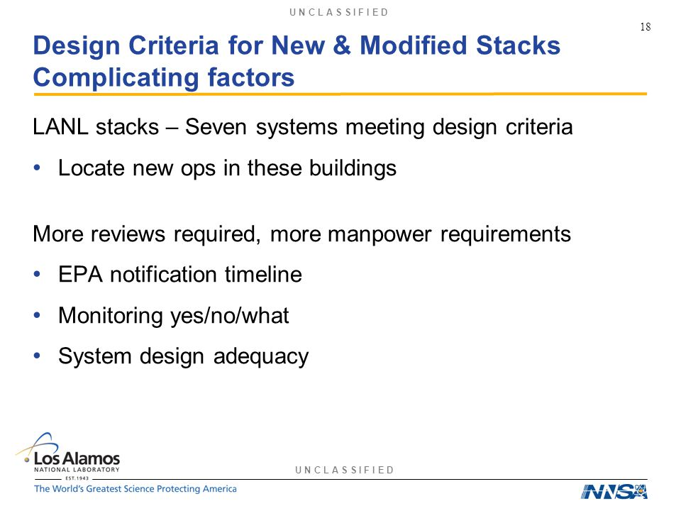 U N C L A S S I F I E D Design Criteria for New & Modified Stacks Complicating factors LANL stacks – Seven systems meeting design criteria Locate new ops in these buildings More reviews required, more manpower requirements EPA notification timeline Monitoring yes/no/what System design adequacy 18