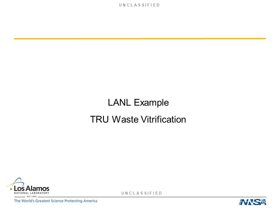 U N C L A S S I F I E D LANL Example TRU Waste Vitrification