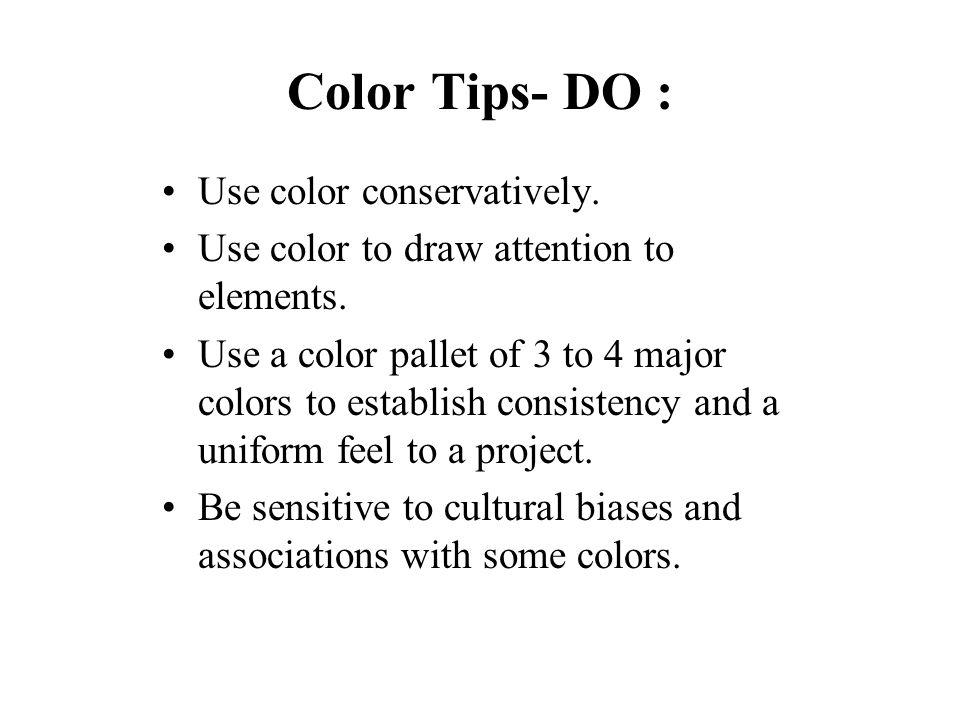 Color Tips - DON'T : Sacrifice readability for pleasing color.