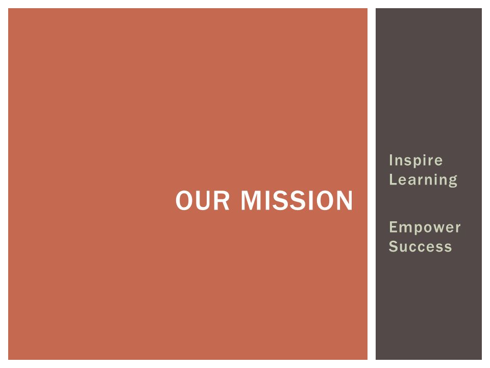 Inspire Learning Empower Success OUR MISSION