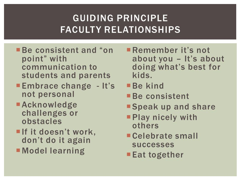 Be consistent and on point with communication to students and parents  Embrace change - It's not personal  Acknowledge challenges or obstacles  If it doesn't work, don't do it again  Model learning  Remember it's not about you – It's about doing what's best for kids.