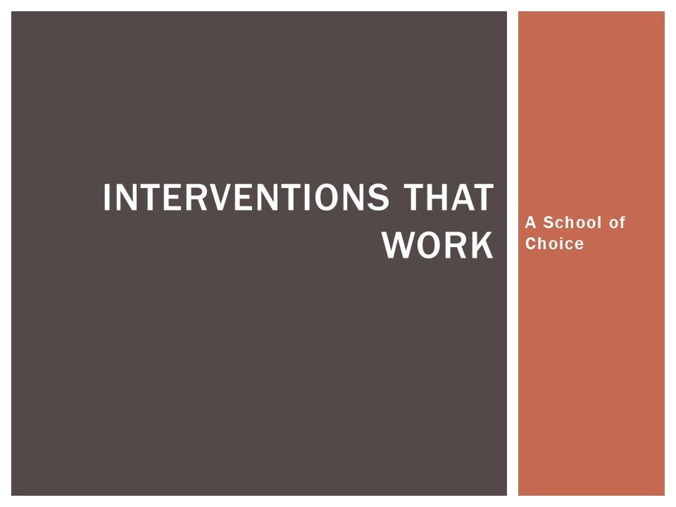 A School of Choice INTERVENTIONS THAT WORK