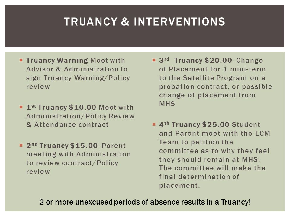  Truancy Warning-Meet with Advisor & Administration to sign Truancy Warning/Policy review  1 st Truancy $10.00-Meet with Administration/Policy Revie