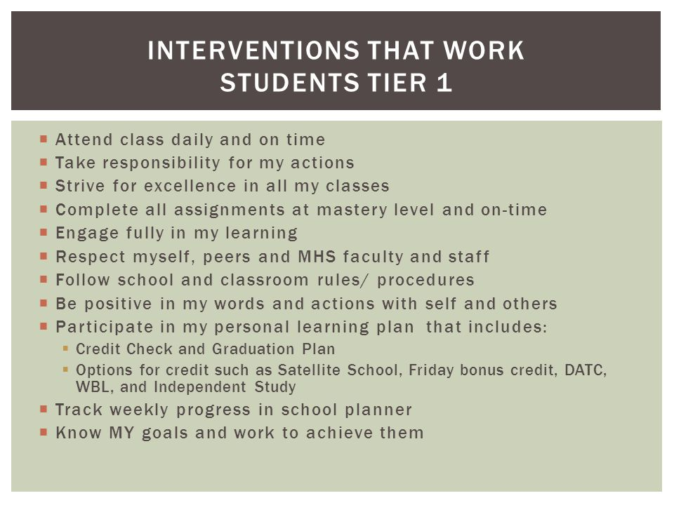  Attend class daily and on time  Take responsibility for my actions  Strive for excellence in all my classes  Complete all assignments at mastery level and on-time  Engage fully in my learning  Respect myself, peers and MHS faculty and staff  Follow school and classroom rules/ procedures  Be positive in my words and actions with self and others  Participate in my personal learning plan that includes:  Credit Check and Graduation Plan  Options for credit such as Satellite School, Friday bonus credit, DATC, WBL, and Independent Study  Track weekly progress in school planner  Know MY goals and work to achieve them INTERVENTIONS THAT WORK STUDENTS TIER 1
