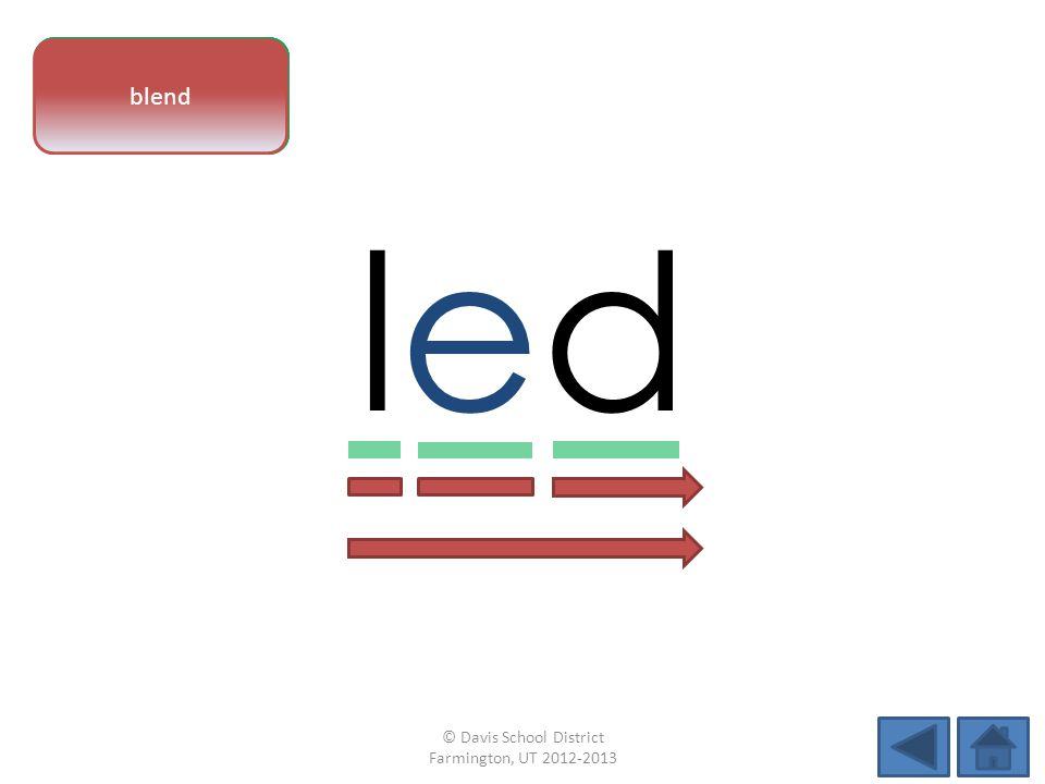 vowel pattern ledled letter sounds blend © Davis School District Farmington, UT 2012-2013