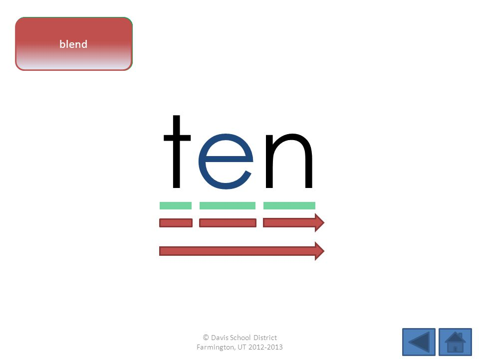 vowel pattern tenten letter sounds blend © Davis School District Farmington, UT 2012-2013