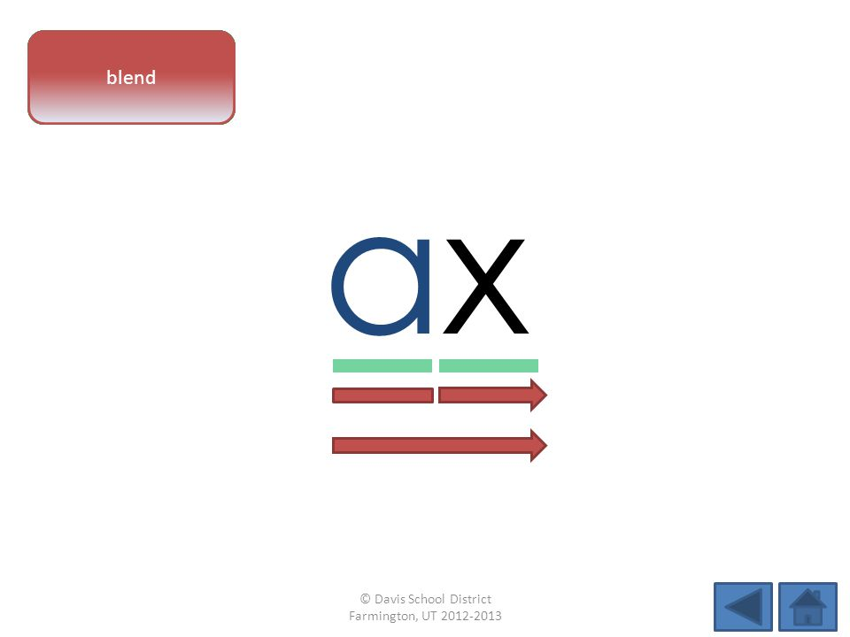 vowel pattern axax letter sounds blend © Davis School District Farmington, UT 2012-2013