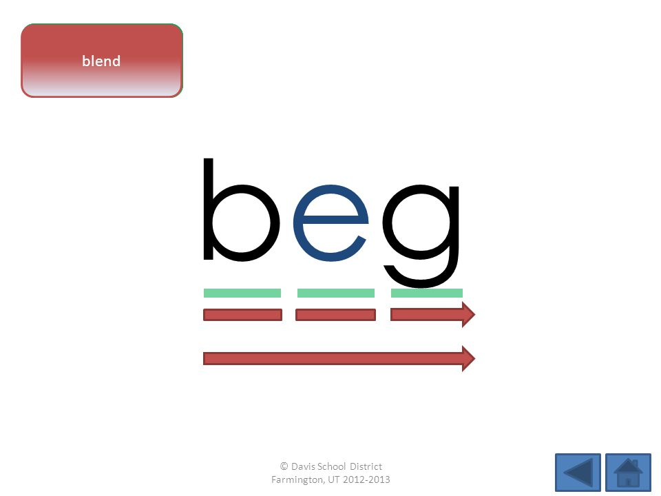vowel pattern begbeg letter sounds blend © Davis School District Farmington, UT 2012-2013