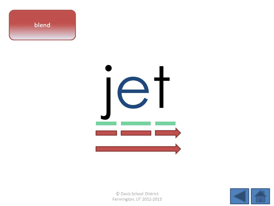 vowel pattern jetjet letter sounds blend © Davis School District Farmington, UT 2012-2013