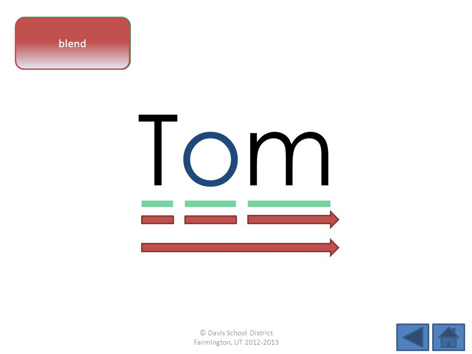 vowel pattern TomTom letter sounds blend © Davis School District Farmington, UT 2012-2013